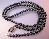 "Vintage Genuine Hematite Beaded Necklace w/ Sterling Silver Filigree Clasp 16.5"" Jewelry Jewellery"