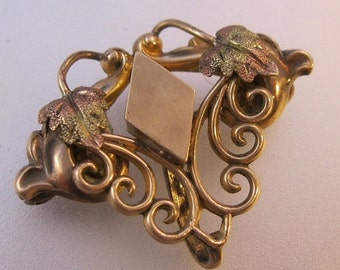 BIGGEST SALE of the Year Edwardian Simmons Watch Pin Three Tone Leaf Gold Filled Antique Jewelry Jewellery