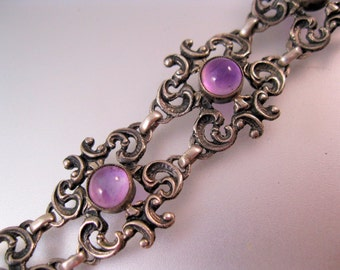Art Nouveau Bracelet Cabochon Amethyst Sterling Silver Antique