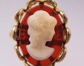 HALLOWEEN SALE 1960s Cameo Costume Ring Adjustable Vintage Jewellery Jewelry Old New Stock