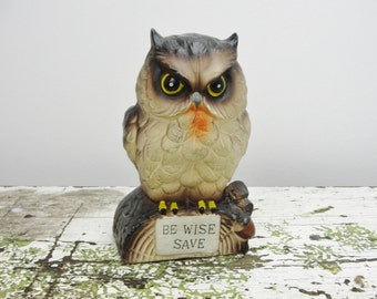 Vintage owl bank Be Wise Save