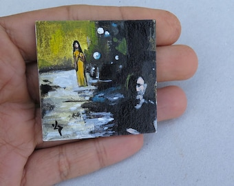 Miniature Painting Collectible Tiny Unframed Miniature, Acrylic Original Painting, Dollhouse Miniature