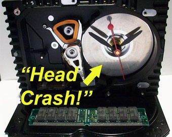 "Computer Hard Drive Clock, RAM Circuit Board Accent, Disk has ""Head Crash.""  Poor data!"
