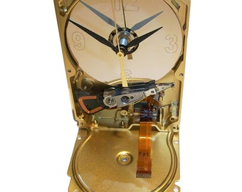 FREE SHIPPING USA! Unique Clock from Recycled Hard Drive with Golden Ribbon Cable Accent.
