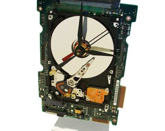 FREE SHIPPING! Laptop Hard Drive on a Circuit Board Clock, Unique, Great Recycle of Computer Parts