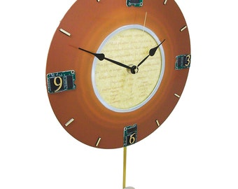 Rare 1960s IBM Computer Hard Drive Disk Platter Now a Pendulum Clock. Vintage Disk Platter. FREE Shipping USA!