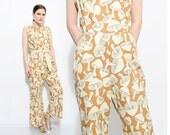 70s Mushroom Jumpsuit Denim Jeans Novelty Print High Waist Pantsuit 1970s Festival Hippie Romper Medium M