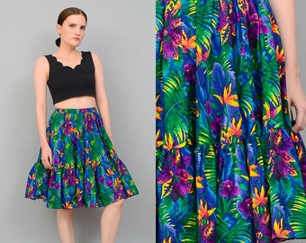 Vintage 80s Tropical Floral JUNGLE Print High Waist Cotton Square Dance Full Circle Skirt Small XS S