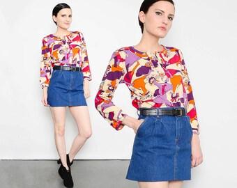 RARE 70s Mod Groovy Shirt Umbrella Girls 1970s Psychedelic Novelty Print Cotton Jersey Knit Top Small Medium S M