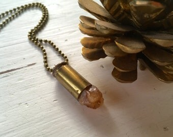 Raw Citrine & Bullet Necklace - Rough and Natural Piece of Golden Citrine Set Into Brass Bullet Casing