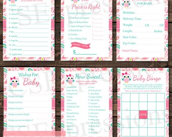 Pink Paisley Owl Baby Shower Games Pack