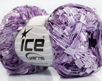 Lilac Shades Butterfly Ribbon Yarn - Lilac Purples & Purple-Hued-White Flag Ribbon Yarn 50g 164y Ice 41739