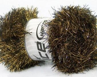 Black Gold Festival Metallic Long Eyelash Yarn #43047 - Ice 50 gram 76 yards - Glitzy Black Gold Faux Fur Fun Fur Yarn