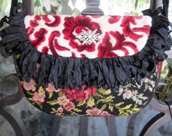 RESERVED....Petite Vintage Velvet Chenille, Needlepoint Roses Handbag, Red, Black