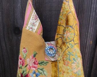 Vintage Needlepoint Flowers, Velvet Chenille, Vintage Barkcloth, Brocade