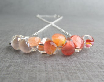 Peach Lampwork Necklace, Coral Ombre Necklace, Marigold Orange Necklace, Mottled Coral, Peach Necklace Orange, Sterling Silver Necklace