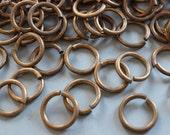 15 Vintage Oxidized Brass Heavy Duty Jump Rings 19mm 11 Gauge