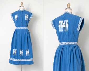 vintage 1950s dress / plaid cotton halter 50s dress / Hand-Tex