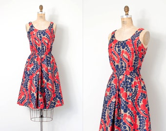 vintage 1960s dress / polka dot print 60s dress / Connect the Dots