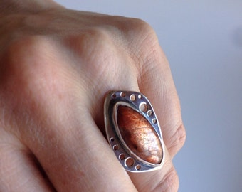 Sunstone ring, sterling silver ring with marquise cut orange stone, size 6.75