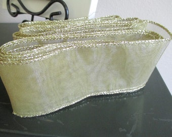 Gold Translucent Wide Wired Ribbon by the yard