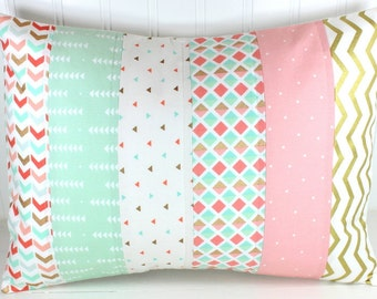 Nursery Cushion Cover, Patchwork Pillow Cover, Nursery Decor, 12 x 16 Inches, Coral, Blush Pink, Mint Green, Gold, Tribal, Triangles