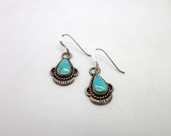 Sweet Little Vintage Turquoise and Sterling Silver Earrings VERY Pretty Stones Coverted from Screw Backs