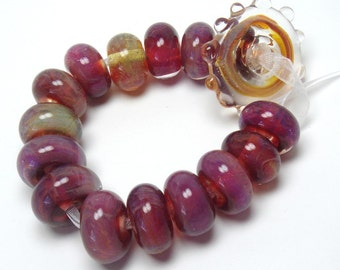 DESTASH  lampwork beads - Boro Pink Beads, pink lampwork beads, 15 beads, pink art glass beads, magenta beads, fuchsia beads