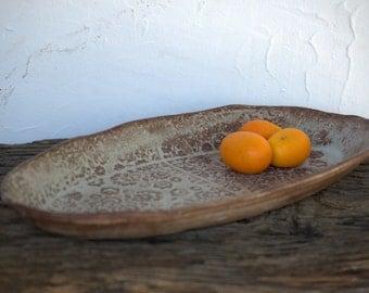 Ceramic Appetizer Plate, side dish, oval Dessert Plate, pottery cake plate, tapas bowl, rustic farmhouse dish