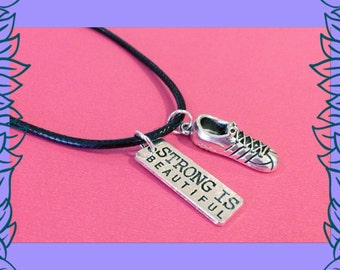 SALE gym jewelry, strong is beautiful necklace, running shoe charm, fitness jewellery, gym fitness gift UK