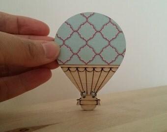 Hot Air Balloon Wooden Brooch