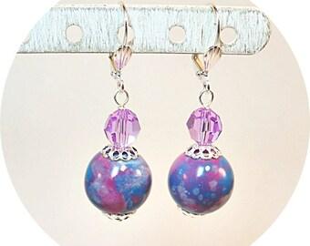 Lavender Earrings, Purple Earrings, Bridesmaid Earrings, Bridesmaid Gift, Purple Pink Earrings, Purple Dangles, Bridal Accessories, Orchid