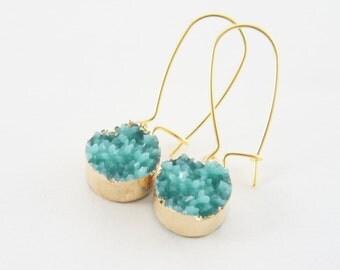 synthetic seafoam green druzy light gold kidney wire earrings, trendy, party, light weight