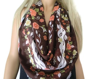 Anatolian Cotton/silk blend Gauze Scarf..Neck scarf...Head scarf/ Dark brown with Sunset color flowers