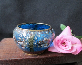 """Vintage Glass Bowl, Plique-a-Jour, Cloisonne BOWL in blue glass, outlined in gold, 2"""" x 3"""", Asian Art, Goldfish, Stained Glass, SALE"""