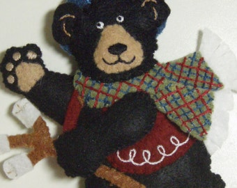 Bucilla Felted BLACK BEAR with blue hat ornament from Blackbear Bonfire Collection