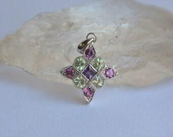 Art Deco Gemstone Pendant, white gold square pendant, 9 stone necklace, square necklace, sapphire necklace, garnet pendant, gifts for moms