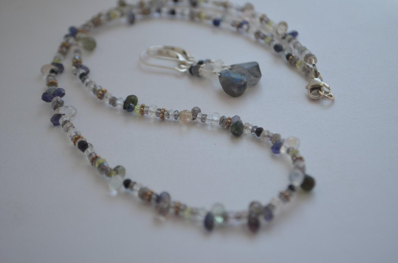 beaded iolite moonstone black onyx labradorite necklace