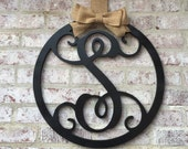 """Door home decor with last initial door hanger in choice of color.  18"""" Vine script personalized and makes best newlywed gift for first home"""