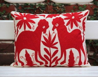 Deep red Pillow Sham-Otomi Embroidery Ready to ship.