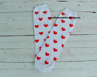 Baby Leg Warmers White with Red Heart Baby Girl Toddler Valentine