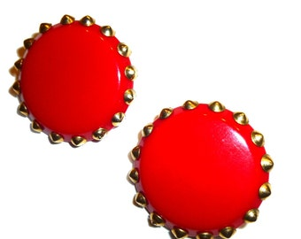 Big Blood Red Bakelite Clip On Earrings. Brass Studded. Circa 1940s Cool Vintage.