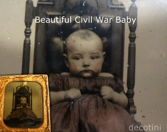 1865 Civil War Baby Ambrotype Hand Tinted Photograph. Tax Stamp Affixed. Infant Wearing Antebellum Dress, Sitting on Huge Chair.