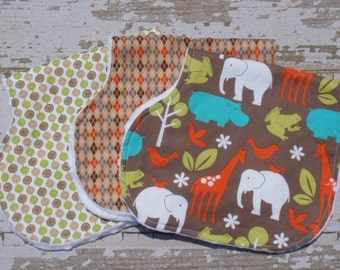 Ready to Ship-The Couture Mama Everyday Burp Cloth Set , Baby Boy, Minky Backed