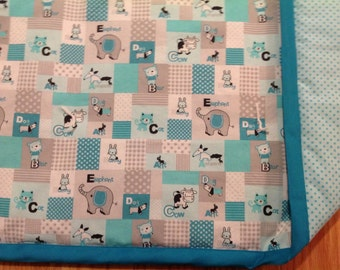 Teal and gray Animal ABC's baby quilt