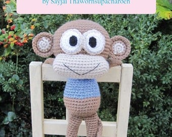 ENGLISH Instructions - Instant Download PDF Crochet Pattern - Huggy Monkey