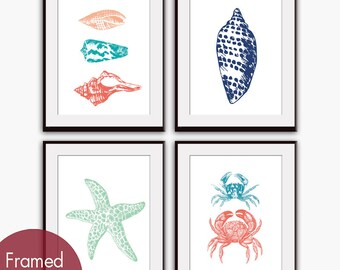 Modern Beach House (Series A) Set of 4 - Art Prints (Featured in Assorted Colors) Nautical Art Prints / Posters