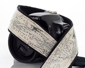 Camera Strap, Aviation Map, dSLR, SLR, Airplane, Mirrorless, Camera Neck Strap, Canon camera strap, Nikon camera strap, Men's, Women's, 255