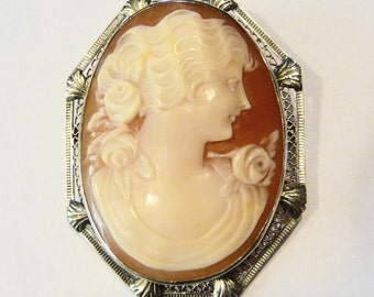 14K White Gold Carved Shell Cameo Pendant Brooch on Etsy by APURPLEPALM