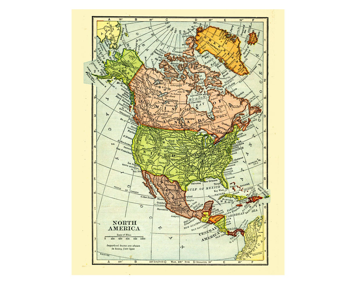 north america digital vintage map of 1909 in pastel colors for